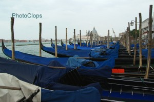 Gondolas Docked At Piazza San Marco