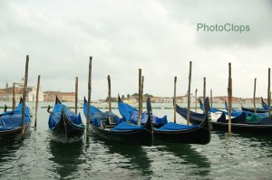 Gondolas Moored At Piazzeta San Marco