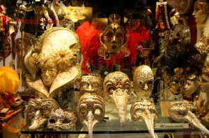 Carnival Masks In Shop Window