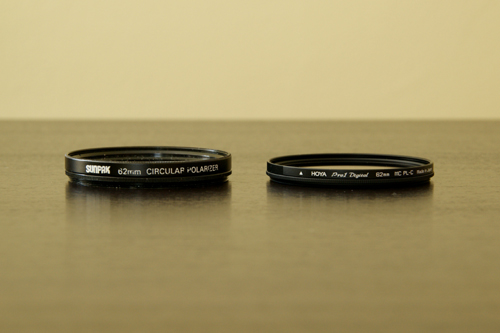 Hoya and Sunpak Circular Polarizers Side By Side