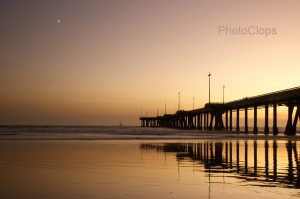 Venice Pier Under Quarter Moon At Twilight