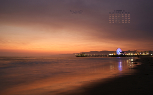 Santa Monica Pier At Dusk Desktop Wallpaper