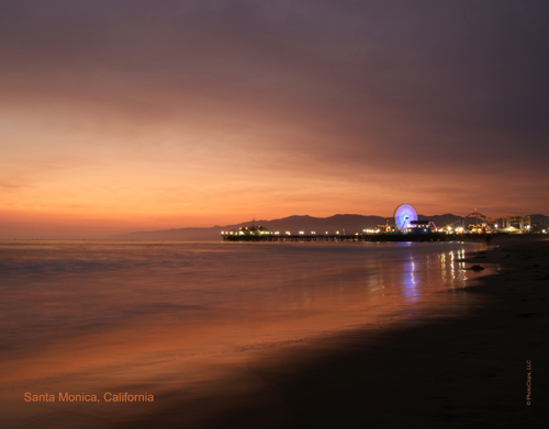 2010 Santa Monica Pier At Dusk Wall Calendar