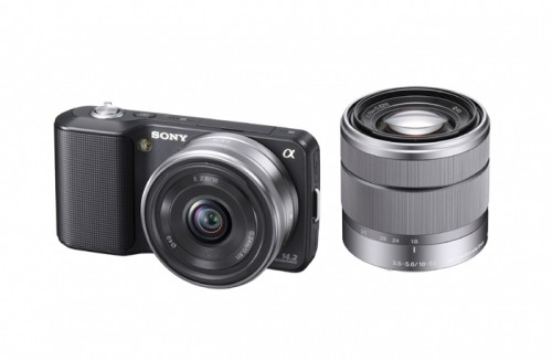 ony Alpha NEX-3 Black With SEL16F28 Lens Attached And SEL1855 Lens