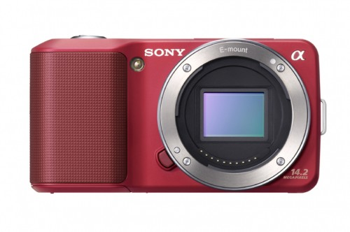 Sony Alpha NEX-3 Red Front View Without Lens Attached