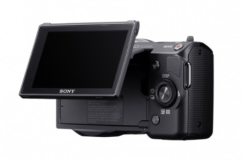 Sony Alpha NEX-5 Black Rear View With LCD Extended