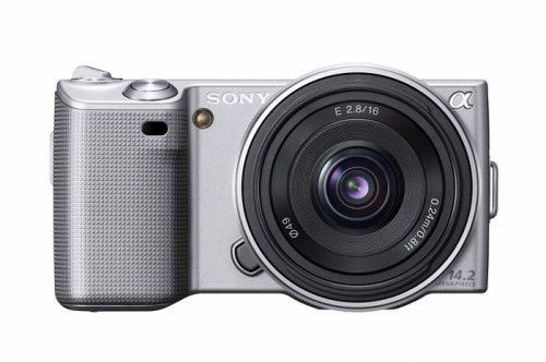Sony Alpha NEX-5 Silver With SEL16F28 Lens Attached